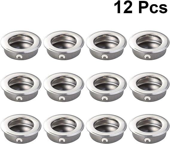 DOITOOL 12 Piezas de Puertas Deslizantes para Armarios Tiradores para Puertas de Gabinete Y Puertas Correderas Fácil de Instalar en La Manija de Extracción de Dedos de Acero Inoxidable (35 Mm): Amazon.es: