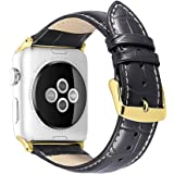 iStrap Alligator Grain Calf Leather Watch Band fit Apple iWatch 2 Case Series 1 Series 2 Series 3 Edition Sport Color & Model(38mm Model,42mm Model)
