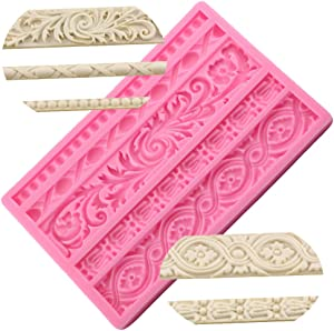 Neepanda DIY Baroque Scroll Relief Cake Border Silicone Molds, Baroque Style Curlicues Scroll Lace Fondant Silicone Mold, European Frame Cake Decorating Tools, Relief Flower Lace Mould Mat(Pink)