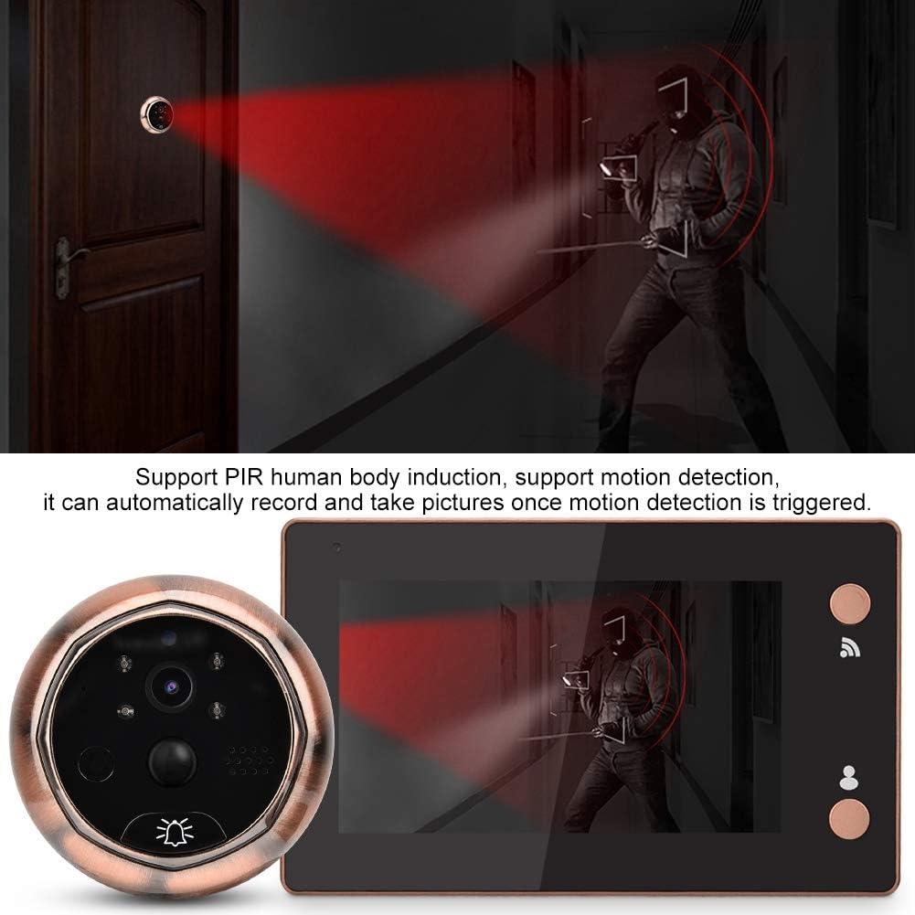 visiophonique visuel Intelligent de Porte de Porte de Sonnette de Porte de Pouce de 720P HD WiFi de 4.3 Pouces avec la d/étection de Mouvement//Vision Nocturne Visionneuse num/érique de Porte