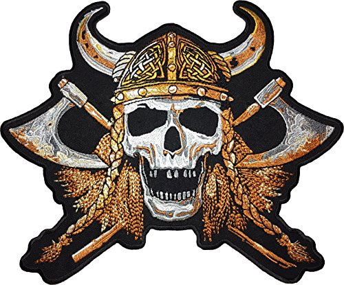 [Large Size] Papapatch Viking Skull Cross Battle Axes Helmet Skeleton Biker Rider Motorcycle Jacket Vest Costume Embroidered Sewing Iron on Patch (Helmet Axe)