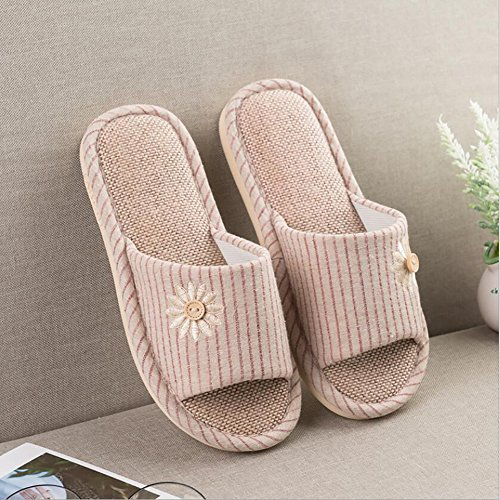 Slip Women's 37 38 Shoes Slippers Red Bathroom Flops Couple Bedroom Flip Anti Thick Indoor Bottom House Pink CwAqXgxw