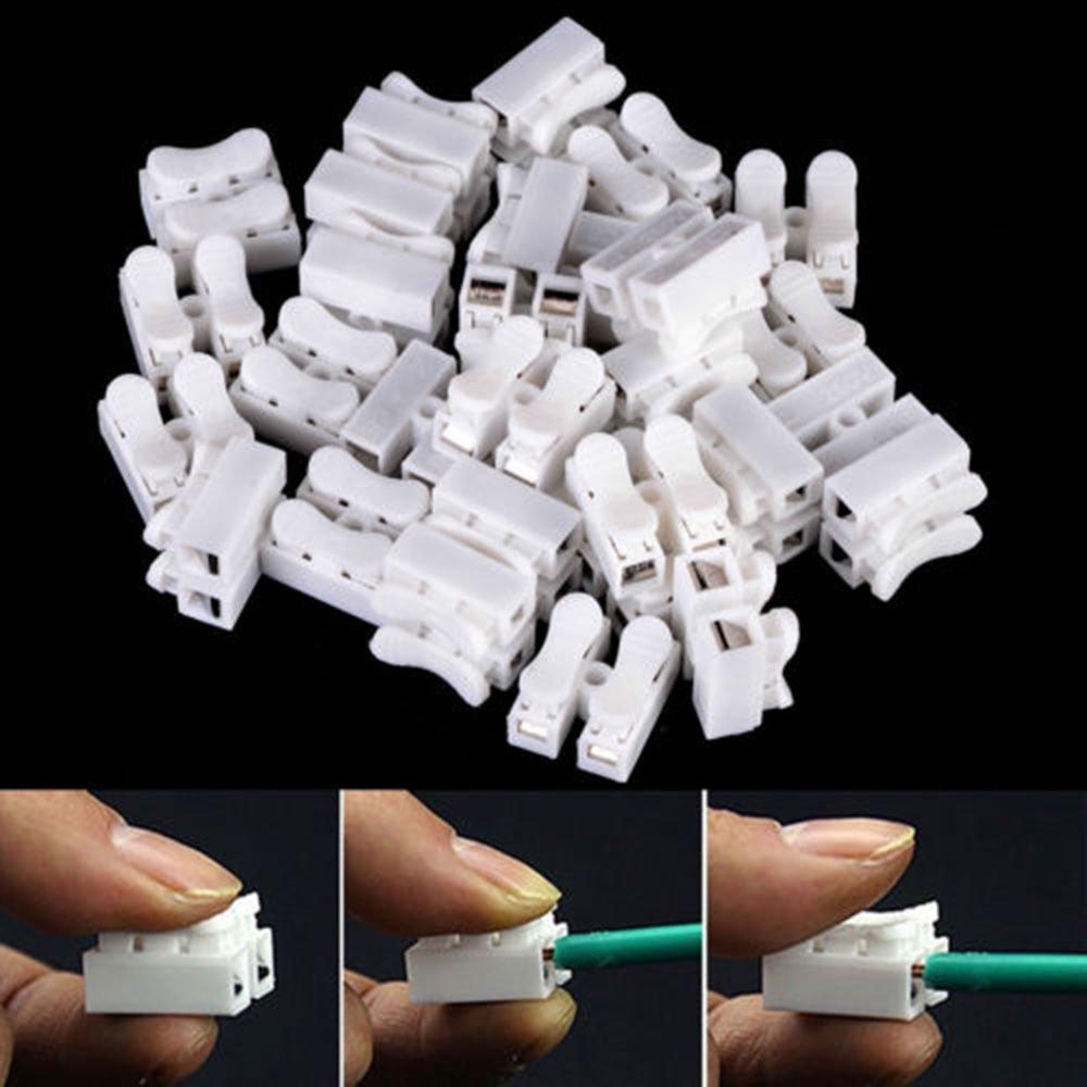 icyang 50 unidades 2 pins rápido Borne de conexión terminales Elektrokabel lámpara Conector schnellspleiß Candado alambre Terminal CH de 2 prensa tipo 250 V ...