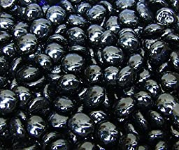Creative Stuff Glass - 3 Lb - Opal Black Glass Gems - Vase Fillers (14-16mm, Approx. 5/8