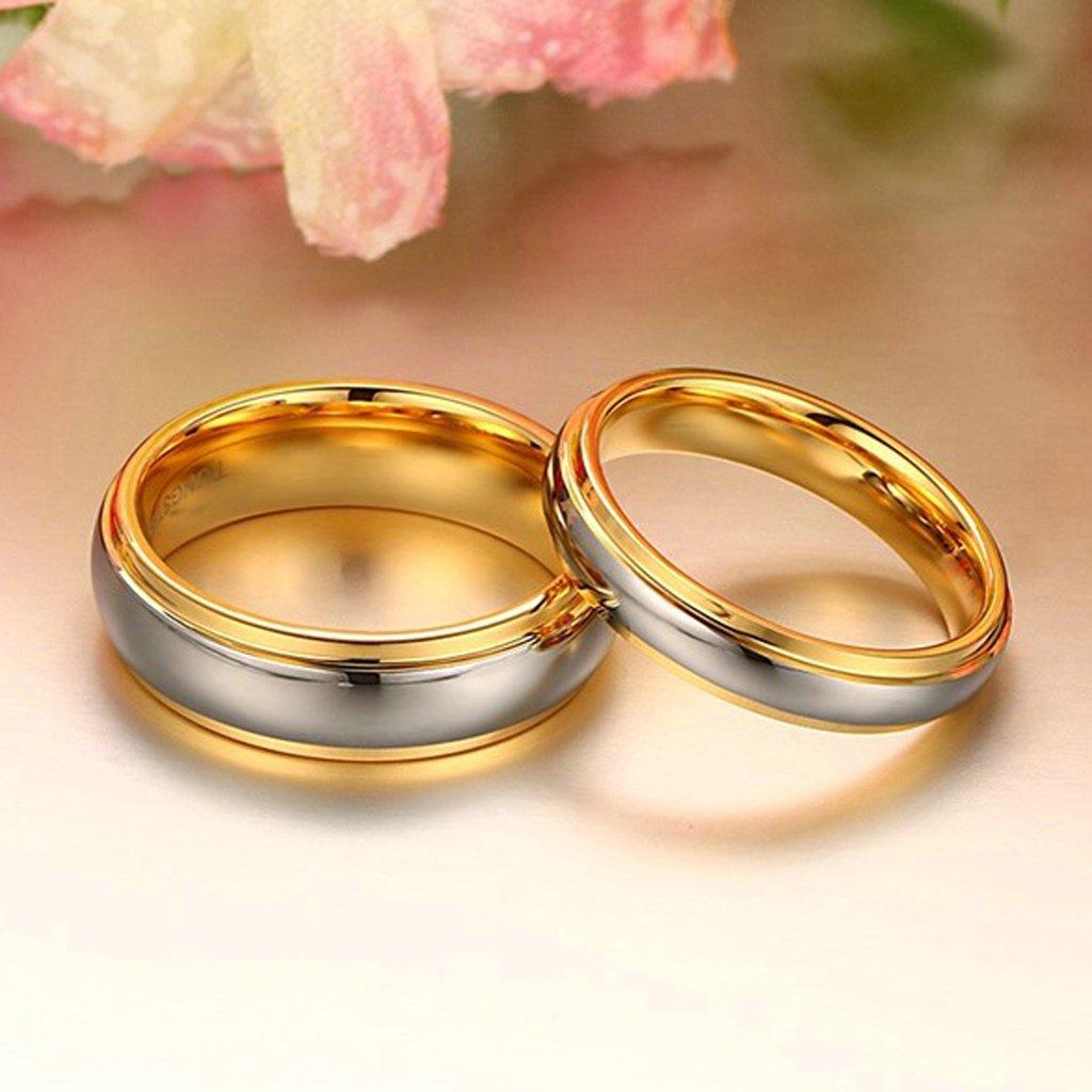 ANAZOZ 2PCS Plain Band Tungsten Wedding Ring Sets His Hers