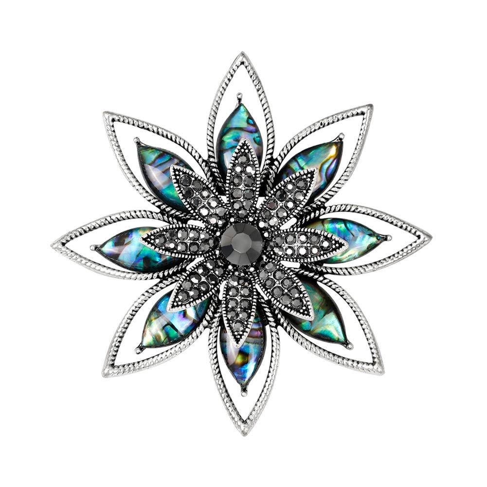 Doitsa Broche Bijoux Fantasía Mujeres Cristal pedrería Concha Boda Banquet romántico Regalo Decorar Corsage Flor Colorful Size 5.7× 5.7CM