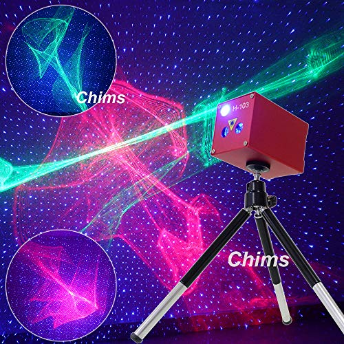 Mini DJ Party Light, Chims Laser Light Rechargeable Cordless RG Aurora Blue Star Effect Laser Projector Sound Activated Stage Lights for Disco Holiday Event Birthday Gift Outdoor Car Camping