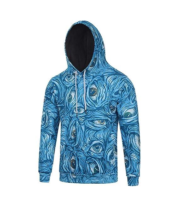 YwlCoat Sudadera, Chaqueta, otoño e Invierno Hombres Azules Ojos 3D con Capucha Jersey: Amazon.es: Ropa y accesorios