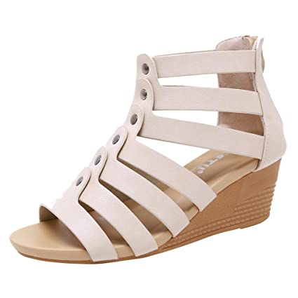 b5bc0b00ec0ce Amazon.com : Women Bohemia Sandals Zipper Wedges Sandals Ladies Peep ...