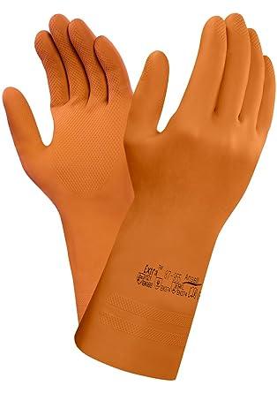 Naranja bolsa de 12 pares Protecci/ón contra productos qu/ímicos y l/íquidos Ansell 87-955//6.5-7 Extra Caucho natural guante Tama/ño 6.5-7