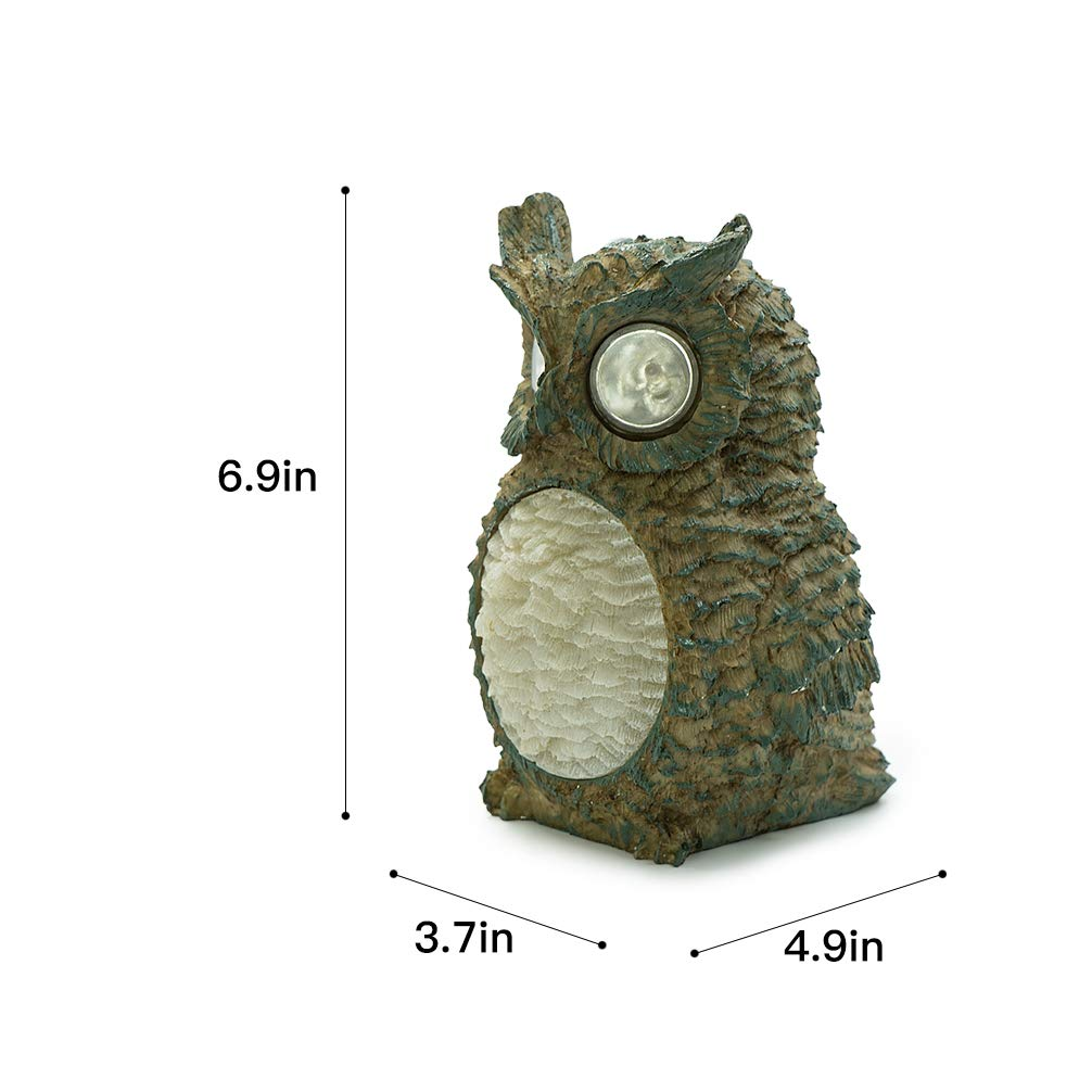 Cute Wireless Waterproof Polyresin Statues Garden House Light for Yard Home Decoration Desk Study Nightstand Sleep Camping Work Gifts Upgraded Green Luwint LED Solar Powered Owl Lamp