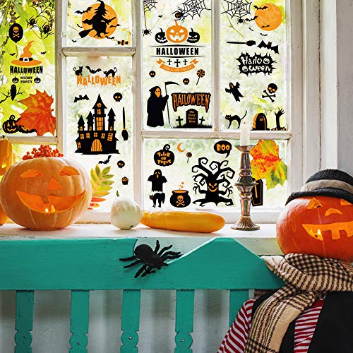 192PCS Halloween Window Clings, Halloween Window Stickers for Home Holiday Decor, 12sheets
