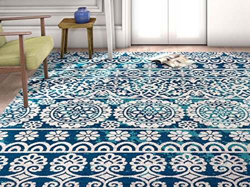 (Well Woven FI-84-4 Firenze Dorothea Modern Vintage Mosaic Tile Work Distressed Blue Area Rug 3'3