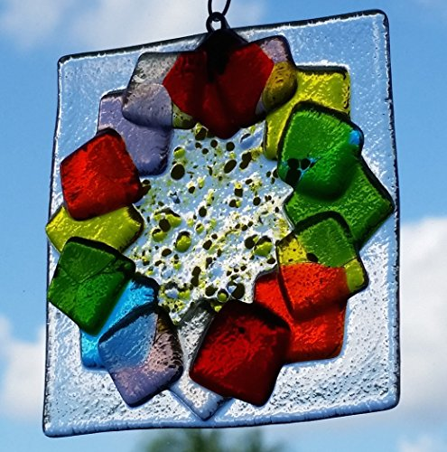 Fused glass rainbow flower suncatcher