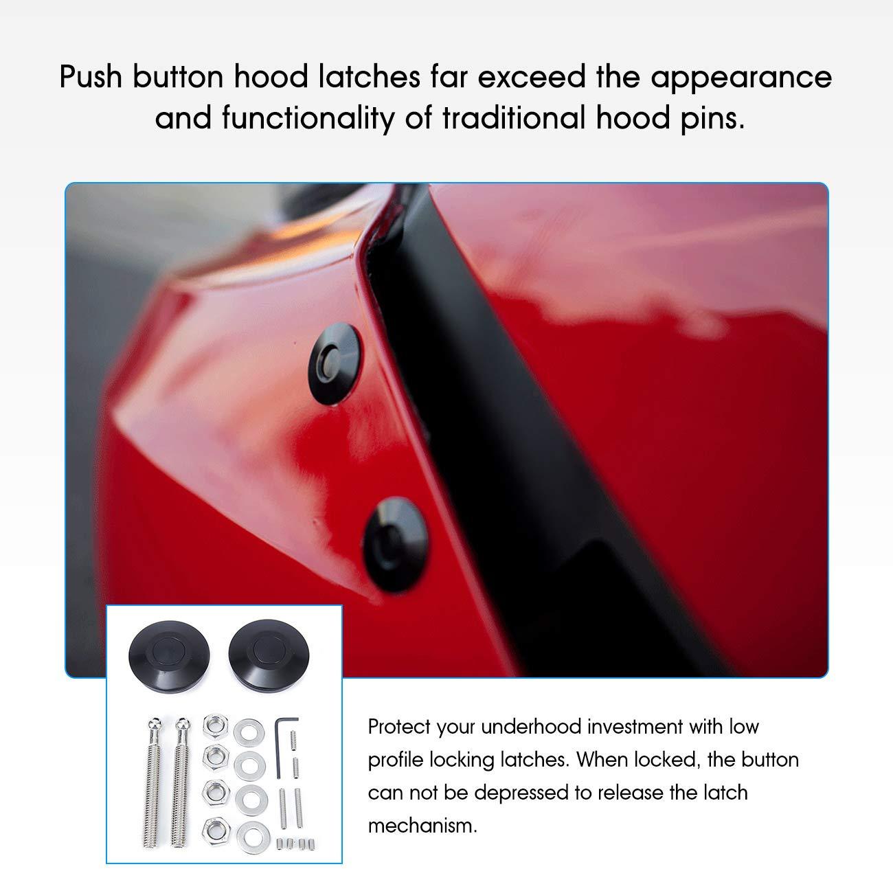 1 Pair, Black Partol Quick Latch Hood Pins Universal Heavy Duty Bumper Hood Latch Low Profile Hood Pins Latch Lock Clip Kit Quick Release Latch 62mm//2.44 for Mostly Car or DIY