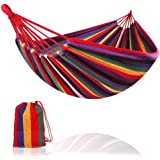Camping Hammock Colorful Multifunctional Hammock Cotton Fabric Canvas Travel Hammocks 450lbs with Tree Straps Double…