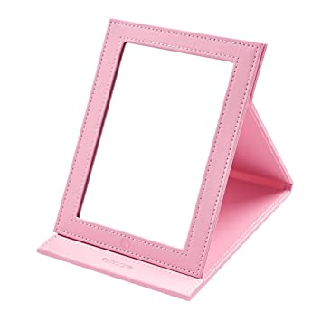 1e57d2438c2 Amazon.com   amoore Makeup Mirror Vanity Folding Tabletop Mirror with PU  Leather Cushioned Cover (Large