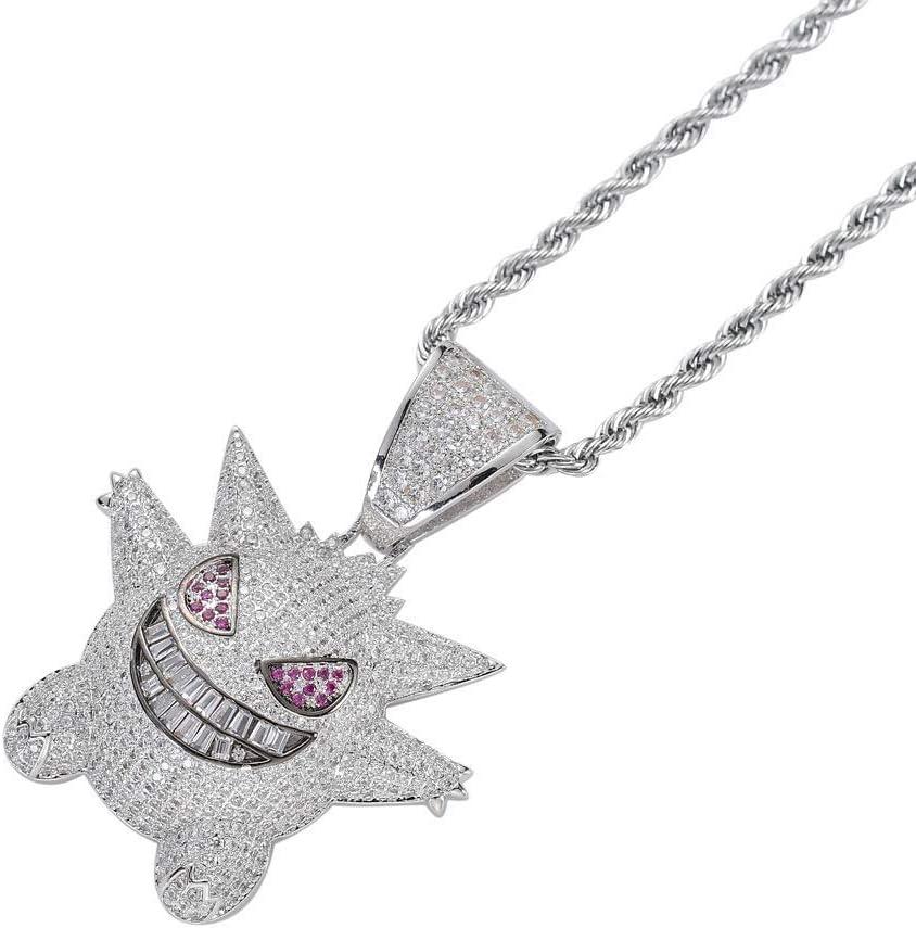 PIN Hip Hop Collar Pokémon Fantasma Colgante de dibujos animados con incrustaciones de circón, 5.1Cm * 3.9Cm, Joyería extraña, Regalo de cumpleaños,Plata