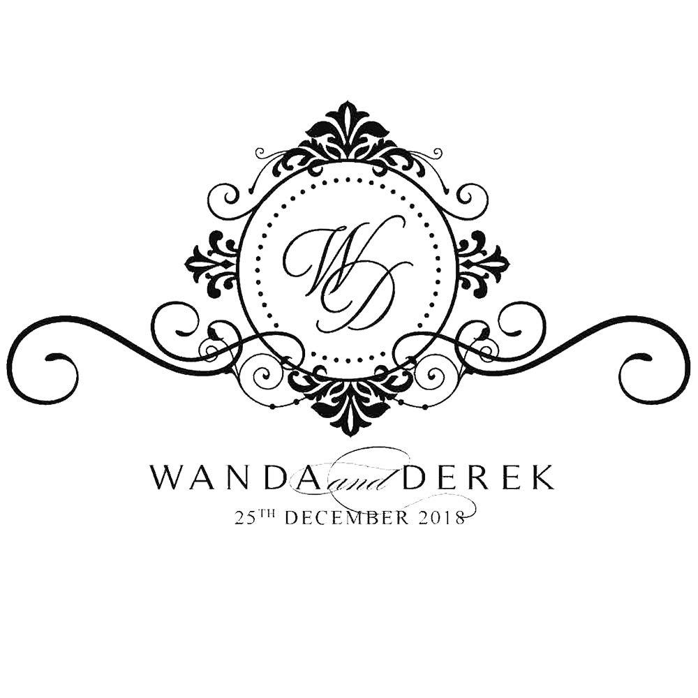 200 cm Porta bottiglie da vino Nome personalizzato Monogram Wedding Floor Decal Matrimonio Decalcomanie Logo adesivi rimovibili in vinile Wedding Decor 3 321