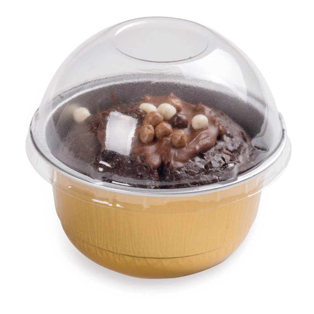 Premium 5-OZ Baking Cups with Lids – Round Foil Baking Cups & Lids Perfect for Fancy Desserts, Appetizers, or Mini Snacks – Gold Cup with Clear Lid – Oven & Freezer Safe – Recyclable – 100-CT