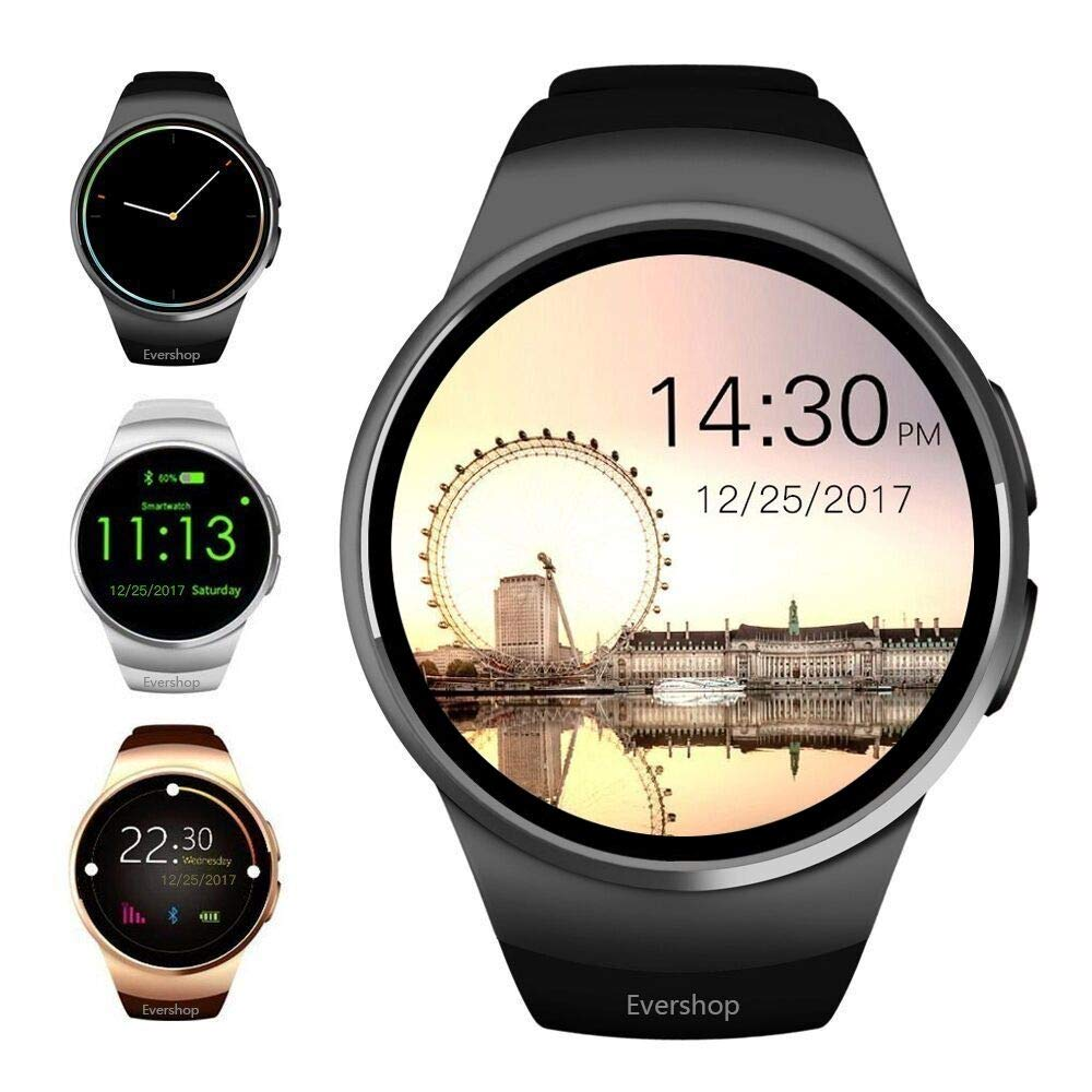 Evershop Bluetooth Smart Watch, 1.5 inches IPS Round Touch Screen Smartwatch with SIM Card and TF Card Slot with Sleep Monitor, Heart Rate Monitor and ...