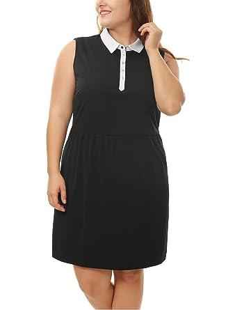 Agnes Orinda Women Plus Size Contrast Collared A Line Dress 3x Black