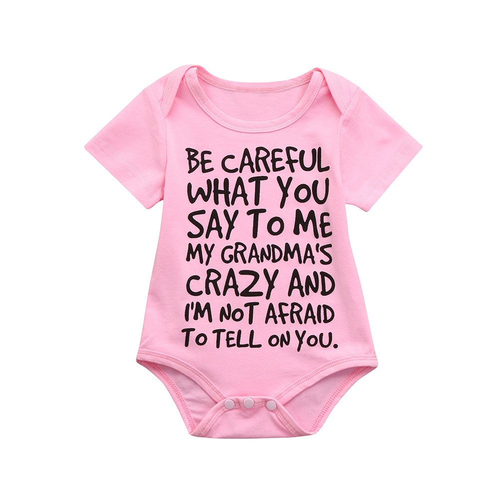 Sameno Newborn Toddler Baby Girls Boys Simple Long Sleeve Romper Letter Print Jumpsuit Casaul Clothes (Pink1, 0-6 Months)