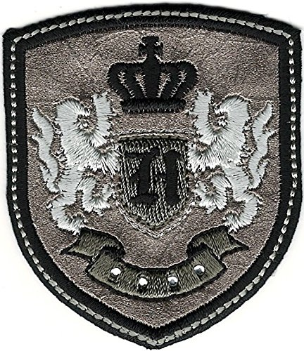(Silver Black Rampant Lion Crown Coat of Arms Crest Letter H Embroidery Patch)