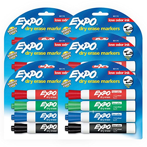 EXPO Low Odor Dry Erase Markers, Chisel Tip, Assorted Colors, 6 Packs of 4 (24 Count)]()