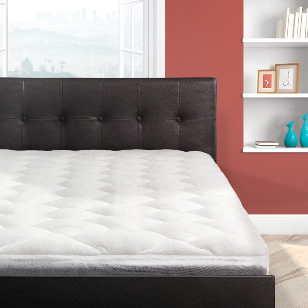 Bamboo Overfilled Pillow Top Mattress Pad | Superb Temperature Regulation | Made in the USA, Queen