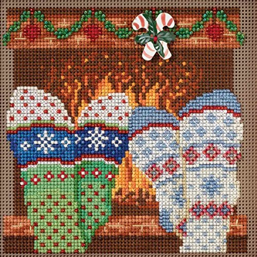 Cozy Feet Beaded Counted Cross Stitch Kit Mill Hill Buttons