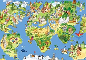 Wall mural world map livegoody photo wallpaper world map kids wall mural nursery decoration 254x183cm part 63 gumiabroncs Choice Image