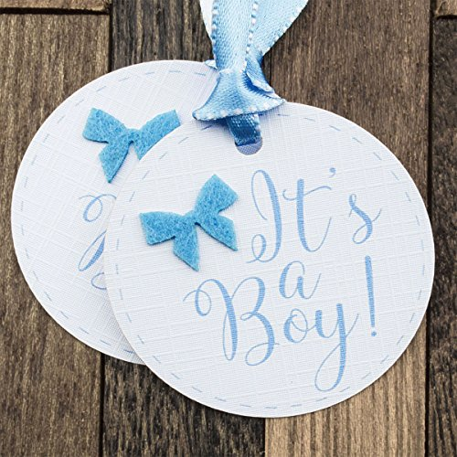 Summer-Ray 50pcs It's a Boy Baby Shower Favor Gift Tags (Tags Gift Felt)