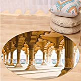 Niasjnfu Chen Custom carpetPillar Decor Historical Theme Gallery of Pillars at Agra Fort India Digital Image for Bedroom Living Room Dorm Light Coffee Beige