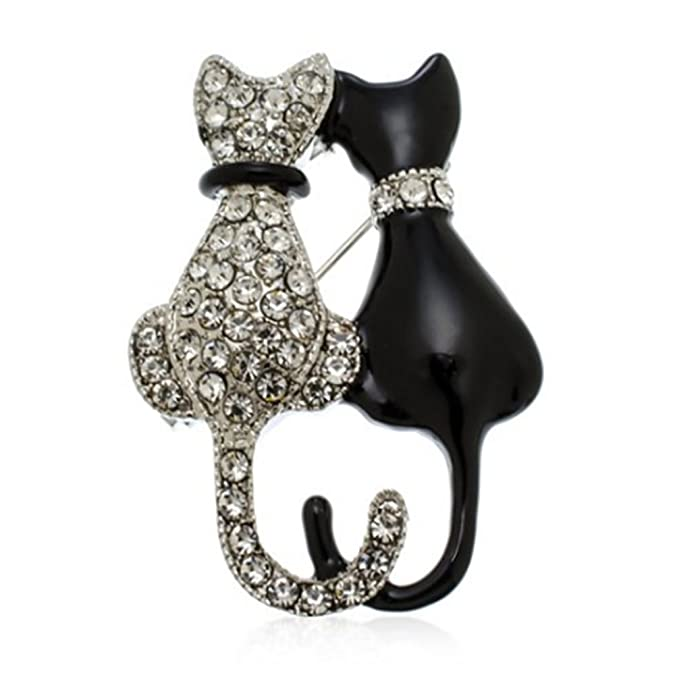 Vintage Style Jewelry, Retro Jewelry Fashion Cat Pin Rhinestone Brooch Pin Charms Inlaid Crystal Animal Breastpin Women Punk Hat Sweater Pin $7.99 AT vintagedancer.com