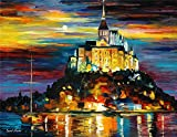 100% Hand Painted Oil Paintings Modern Abstract Art Oil Painting The Castle in the Moonlight Home Wall Decor (36X46 Inch, Wall Arts 11)