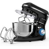Robot de cocina, amasadora (1400 W, con bol de acero inoxidable de 5,5 L, amasador, batidor,varillas y protección para…