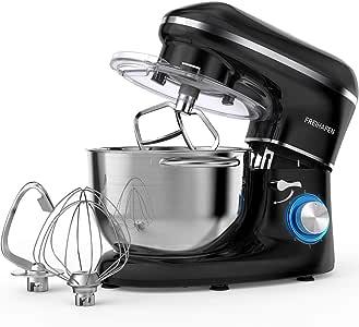 Robot de cocina, amasadora (1400 W, con bol de acero inoxidable de 5,5 L, amasador, batidor,varillas y protección para salpicaduras, 6 velocidades, silencioso) Negro: Amazon.es: Hogar