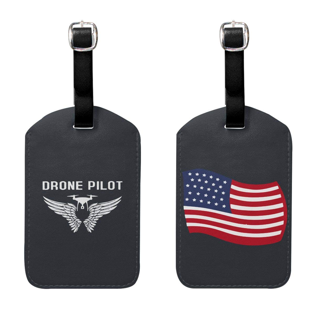 Q80 Drone Pilot Luggage Tags PU Leather Luggage Tags Suitcase Tags