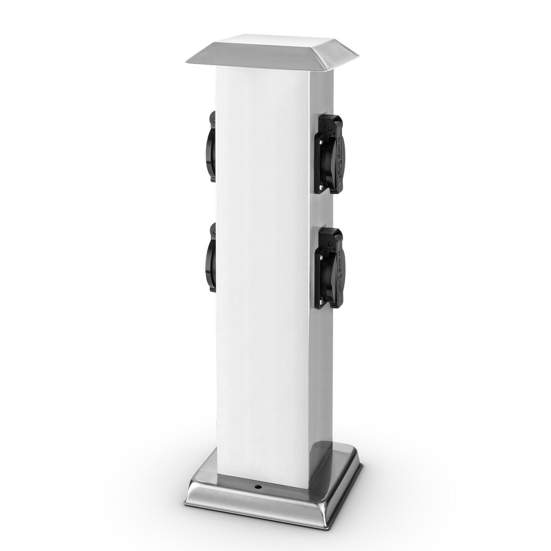 Waldbeck Plug 4 Play Square • Columna de enchufes • Multienchufe Exterior Jardines • x4 Tomas de Tierra • Protección contra Salpicaduras • Potencia máx.