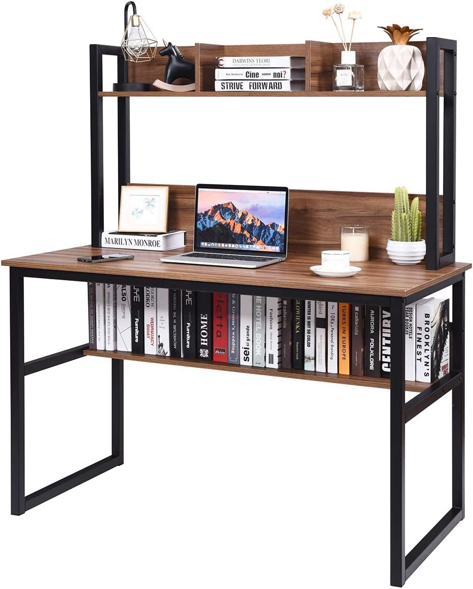 PC Laptop Table Workstation with w// 3 Open Storage Space /& Bottom Bookshelf Brown Tangkula 47 Inches Computer Desk with Hutch /& Bookshelf Space Saving Writing Study Table Home Office Desk