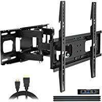 Full Motion TV Wall Mount with Height Setting, JUSTSTONE TV Bracket Fits Most 27-65 Inch LED Flat&Curved TVs…