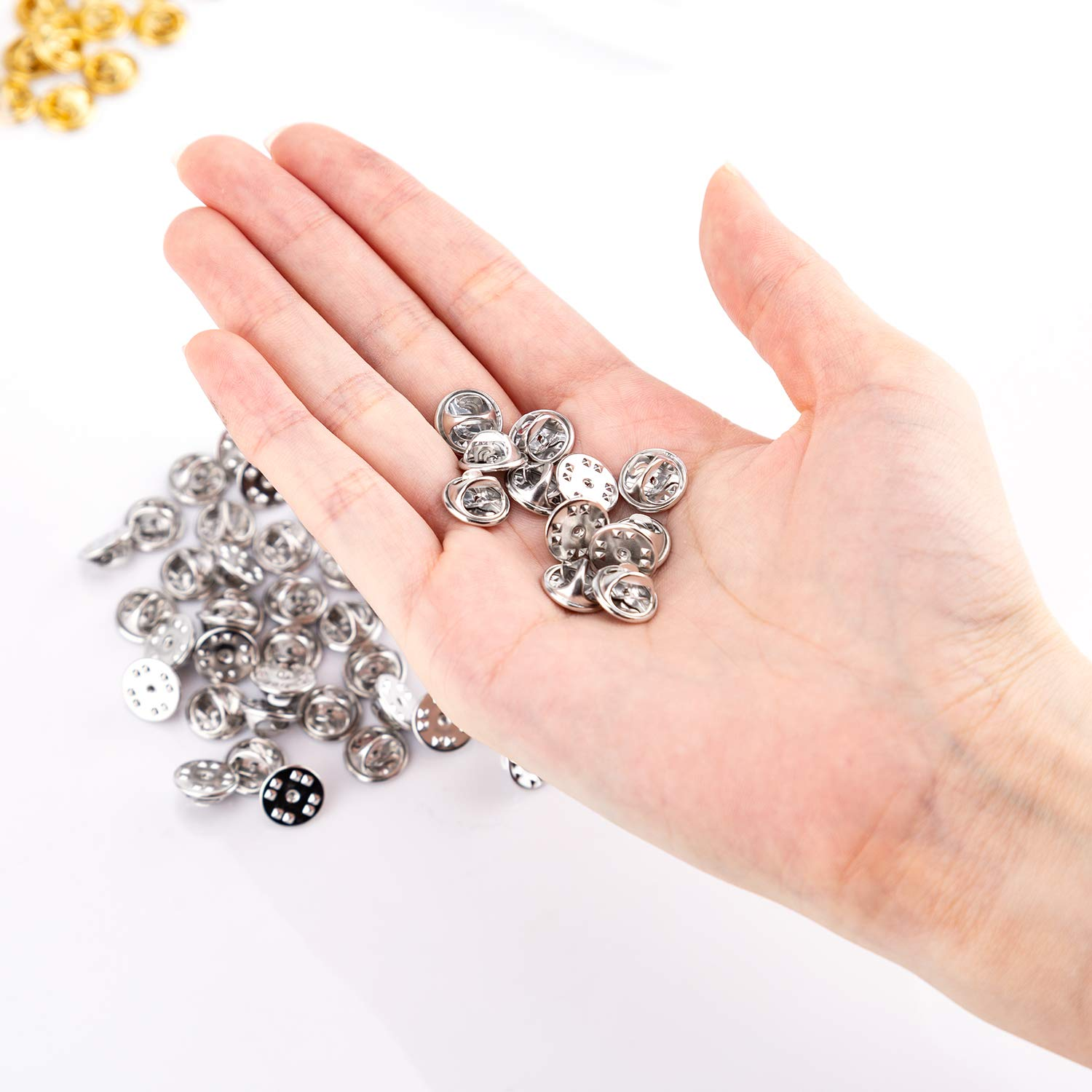 AIEX 60 Pieces Butterfly Clutch Pin Backs 10mm Blank Pins with Clutch Back for Art Crafts Making Silver