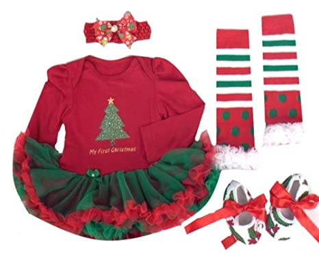 Baby Girl My First Christmas Outfit Set Christmas Tree (12-18month ...