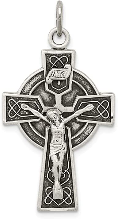 925 Sterling Silver Antiqued INRI Crucifix Pendant