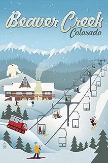 product image for Beaver Creek, Colorado, Retro Ski Resort 94018 (16x24 SIGNED Print Master Art Print, Wall Decor Poster)