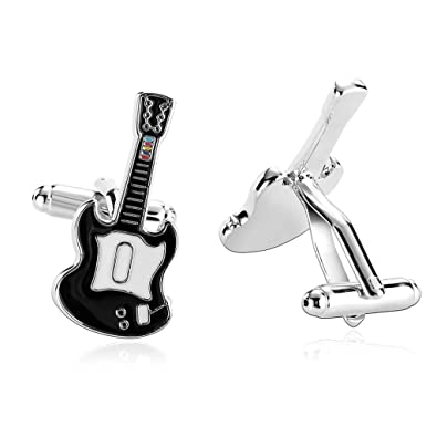 Daesar 2 Piezas Gemelos Hombre Rodio Plateado Blanco Negro Strumentos Series Guitarra Electrica: Amazon.es: Joyería