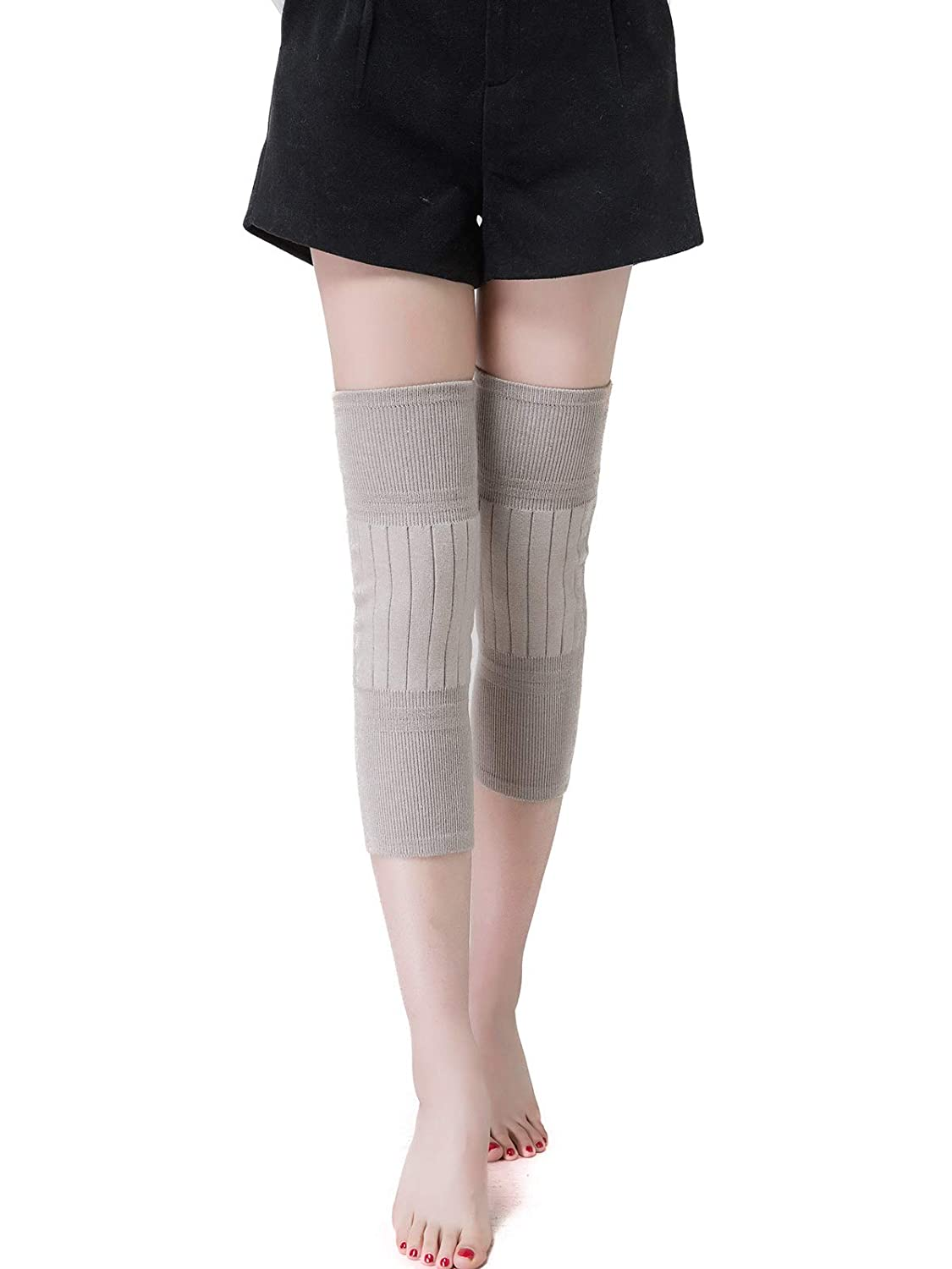 Flammi Thermal Knee Warmers Cashmere Knit Knee Support Mid-Long Extra Thick Knee Sleeves Men Women