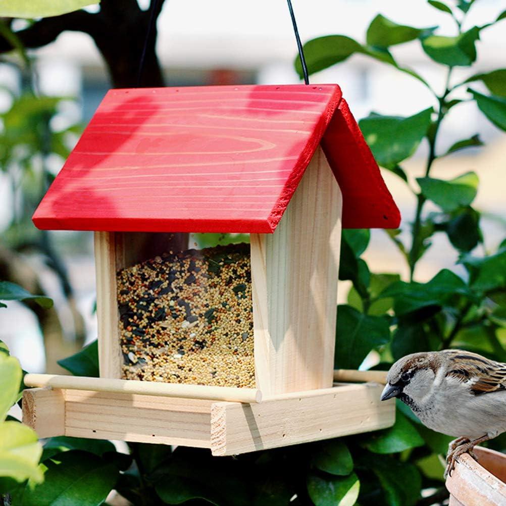 Deeabo Comedero para Pájaros en Forma de Casa, 2L Alimentador para Pájaros de Madera, Estación De Alimentación Colgante para Pájaros Salvajes, Contenedor de Comida para Pájaros A Prueba de Lluvia