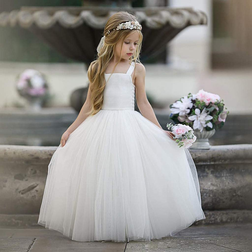 1-5 Years Kids Girls Floral Princess Bridesmaid Pageant Gown Birthday Party Wedding Dress